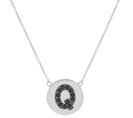 """As Is"" Black Spinel Round Initial Sterling 18"" Necklace"