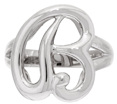 Sterling Silver Initial Ring By Silver Style