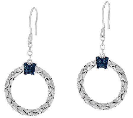 Circle Diamond Drop Earrings, Sterling, 1/5 cttw, by Affinity