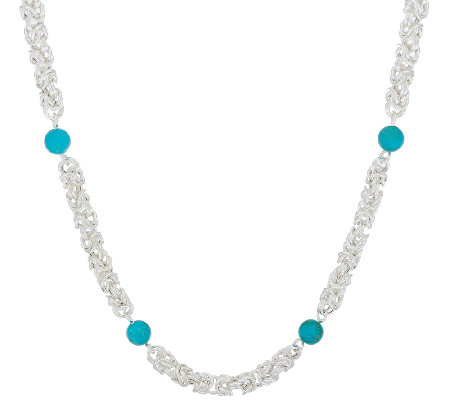 "Sterling Silver 36"" Byzantine & Turquoise Necklace by Silver Style"