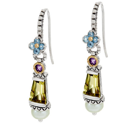 Barbara Bixby Sterling & 18K Multi-Gemstone & Pearl Earrings