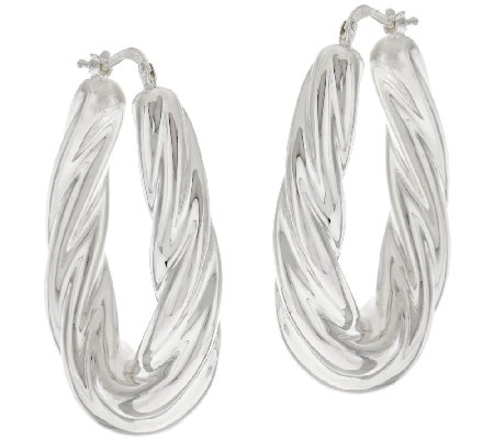 """As Is"" Silver Style Sterling Bold Twisted Oval Hoop Earrings"