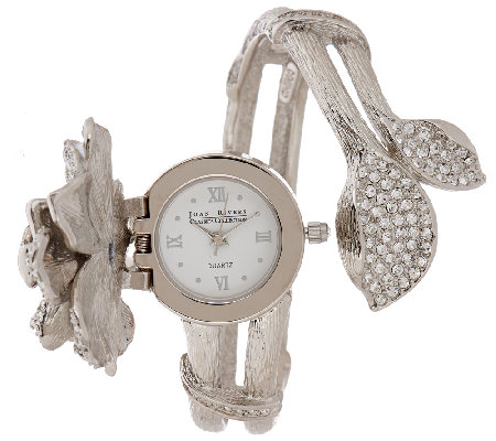 Joan Rivers Pave' Gardenia Hinged Bangle Watch