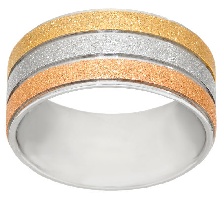 Stainless Steel Tri-Color Glitter Textured Ring