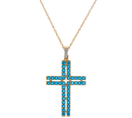 "Neon Blue Apatite Cross Enhancer on 18"" Chain, 14K Gold 1.30 cttw"
