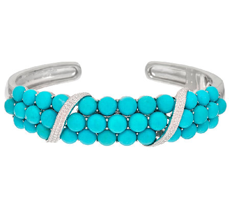 Sleeping Beauty Turquoise Bold Cluster Sterling Silver Hinged Cuff