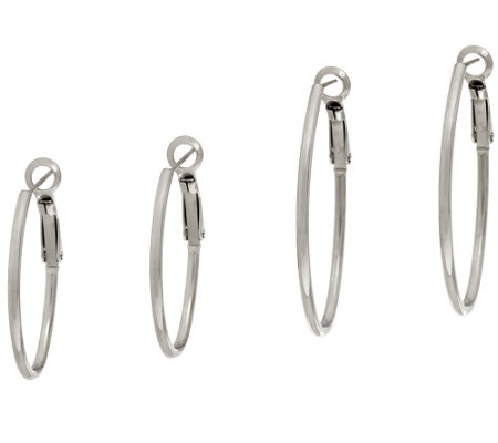 Stainless Steel Set of 2 Omega Back Hoop Earrings, Boxed