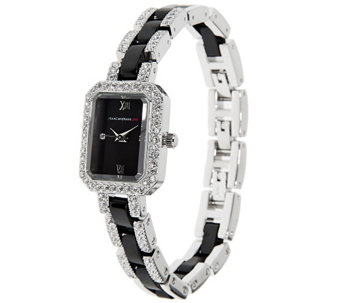 """As Is"" Isaac Mizrahi Live! Ceramic and Crystal Bracelet Watch - J325119"