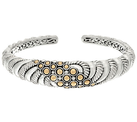 JAI Sterling & 14K Gold Andaman Sea Textured Cuff Bracelet