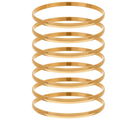 """As Is"" Bronze Set of 7 Polished Round Bangles by Bronzo Italia"