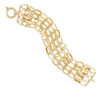 """As Is"" Veronese 18k Clad 7-1/4"" Multi-Strand Link Bracelet - J328919"