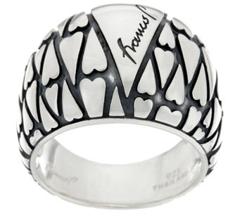 Franco P Sterling Silver Signature Heart Mosaics Ring - J330219