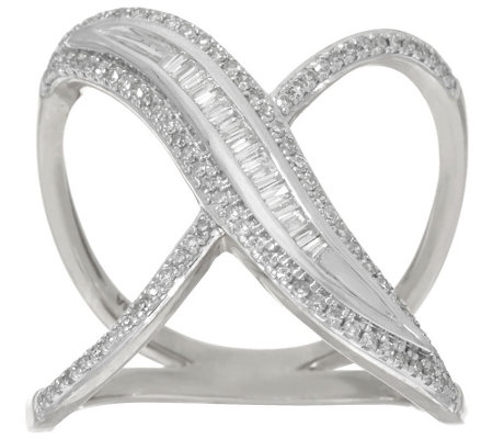 """As Is"" Baguette & Pave' X-Design Diamond Ring by Affinity"