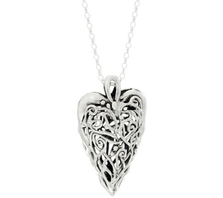 "Hagit Sterling Silver Openwork Heart Pendant on 32"" Chain"