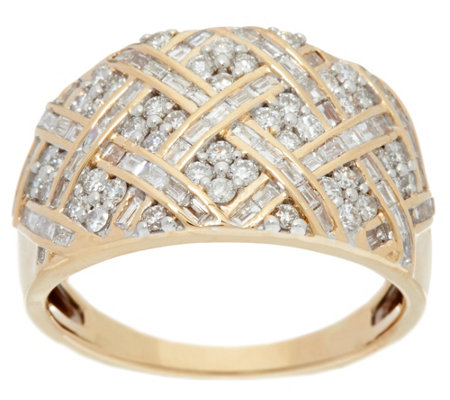 Basketweave Design Diamond Ring, 14K, 1.00 cttw, by Affinity