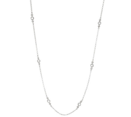 "Diamonique 18"" Station Necklace, Sterling or 14K Clad"