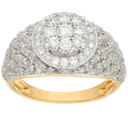 """As Is"" Woven Halo Cluster Diamond Ring, 14K, 1 cttw by Affinity"
