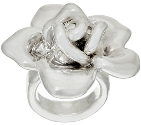 """As Is"" Sterling Silver Bold Rose Flower Ring by Or Paz"