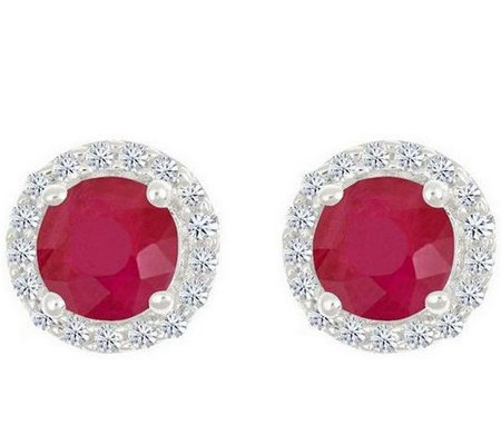 Premier Round 1.00cttw Ruby & Diamond Halo StudEarrings, 14K