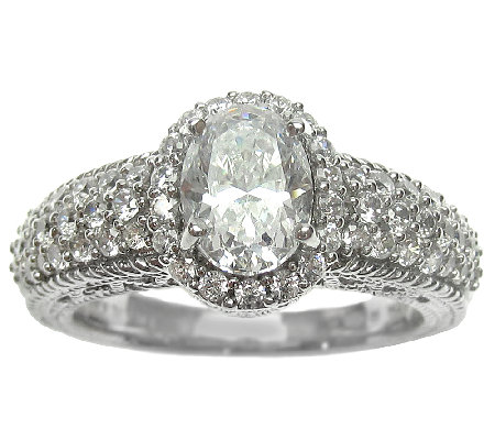 Judith Ripka Sterling 2.30cttw Oval DiamoniqueHalo Ring