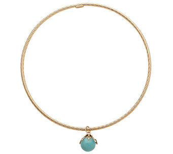 EternaGold Large Gemstone Dangle Bangle, 14K - J337619