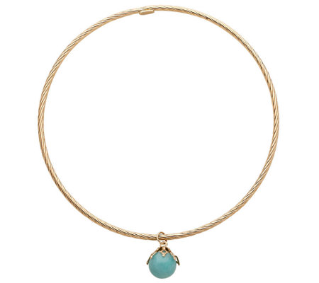 EternaGold Large Gemstone Dangle Bangle, 14K