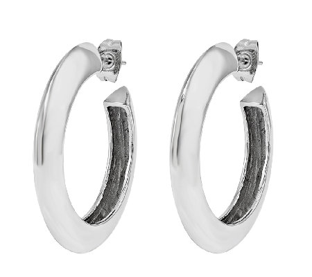 Stainless Steel Polished Knife-Edged Hoop Earrings