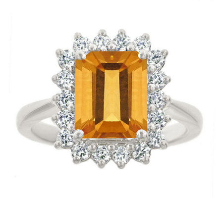 Premier 2.30cttw Emerald-Cut Citrine Diamond Ring, 14K