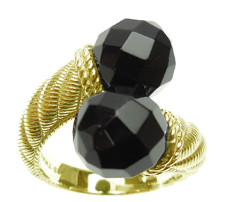 Judith Ripka Sterling and 14K Clad Black Onyx Bypass Ring