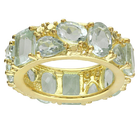 Sterling & Bronze Plated 9.30cttw Green Amethyst Band Ring