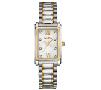 Bulova Women's Stainless Steel Two-Tone CrystalBracelet Watch - J339019
