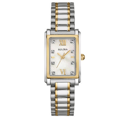 Bulova Women's Stainless Steel Two-Tone CrystalBracelet Watch