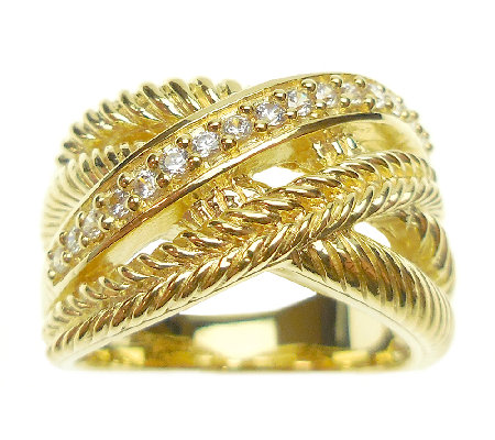 Judith Ripka Sterling 14K-Clad Intertwined Mult i-Row Ring