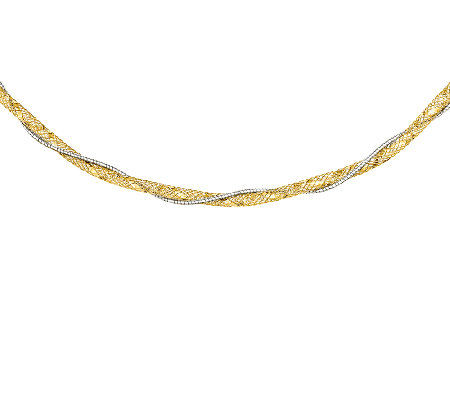 "Two-Tone Mesh and Diamond-Cut 18-1/2"" Necklace,14K"
