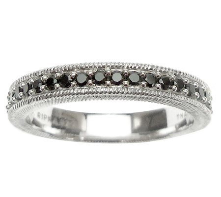 Judith Ripka Sterling Black Spinel Eternity Band Ring
