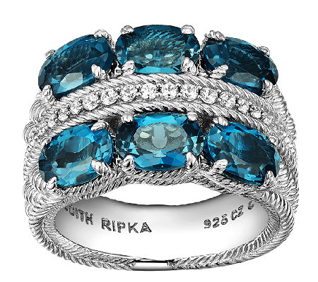 Judith Ripka Sterling  Diamonique & London Blue Topaz Ring