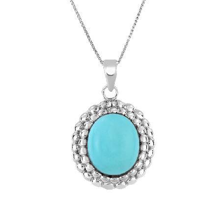 "Sterling Turquoise Pendant with 18"" Chain"