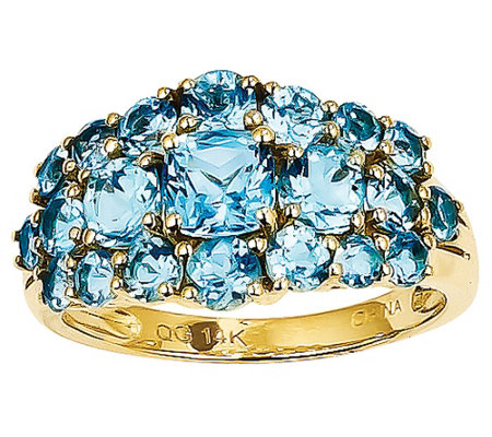 Gemstone Cluster Band Ring, 14K Yellow Gold