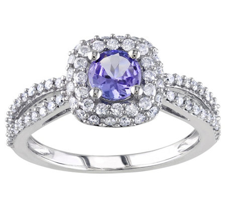 1/2 cttw Diamond & 0.50 ct Tanzanite Ring,  14KWhite Gold