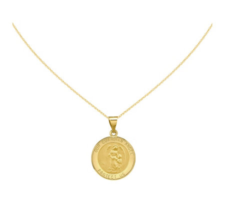 "Round Reglious Mary Medal with 18"" Chain, 14 KGold"