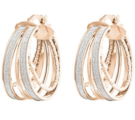 14K Gold Polished Glimmer-Infused Hoop Earrings