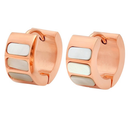 Stainless Steel Mother-of-Pearl Huggie Earrings