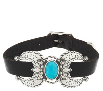 Turquoise & Leather Sterling Naja Bracelet by American West - J343219
