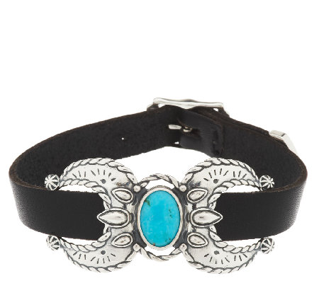 Turquoise & Leather Sterling Naja Bracelet by American West