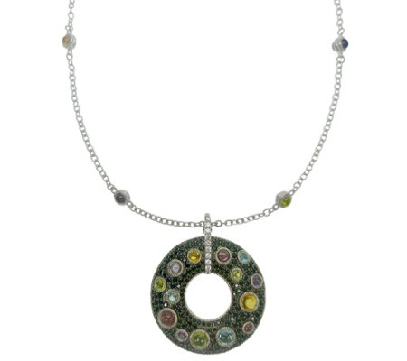 Judith Ripka Sterling Multi-Gemstone Necklace &Enhancer