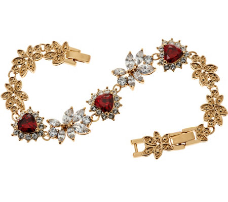 Grace Kelly Collection Simulated Diamond & Ruby Hearts Bracelet