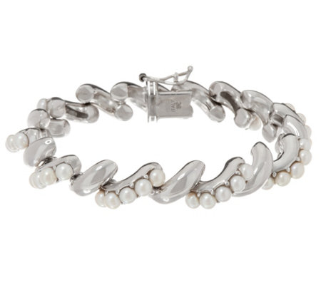 """As Is"" Honora Cultured Pearl Sterling San Marco Bracelet"