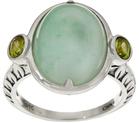 """As Is"" Oval Jade & Gemstone Sterling Silver Ring"