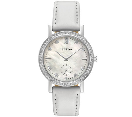 Bulova Women's Crystal Watch with White LeatherStrap