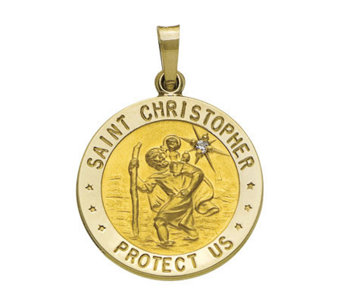 14K Yellow Gold St. Christopher Medal with Diamond Accent - J108220